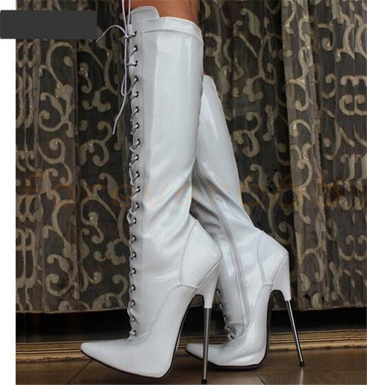 Sehr hohe Absatz Wadenhohe Stiefel Damen Sexy Reißverschluss