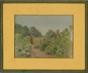 Framed-Mid-20th-Century-Watercolour-Garden-Path-with-a-Folly