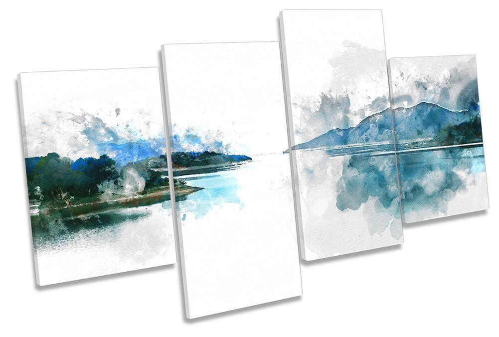 Paisaje arte Lago Azul Blanco Lona Pared Arte obras de arte Paisaje impresión de múltiples 384254