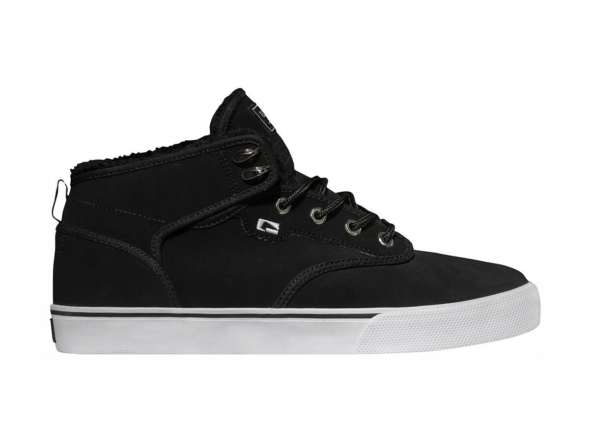 Globe High shoes Lace Up Motley Mid Black Smooth Leather Warm Padding