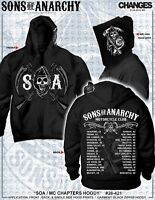 Sons Of Anarchy Chapters Cities Reaper Soa Mens Zip Up Hoodie Official Licensed