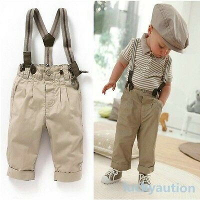 Boys 2PCS Top+Bib Pants Outfit Baby Clothes Toddler Gentleman Overalls Set 0-5Y