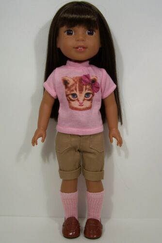 PINK Kitty-Cat Top Shorts Doll Clothes For 14 American Girl Wellie Wishers Debs