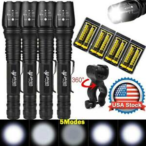 Tactical-350000Lumens-5Modes-T6-LED-18650-Flashlight-Aluminum-Zoom-Torch-Lot-USA
