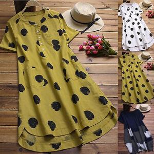 Women-Lady-Polka-Dot-O-Neck-Layered-Short-Sleeve-Button-Blouse-Long-Shirt-Top-US