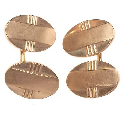 cream celluloid and rose gold rolled gold cufflinks. Art Deco Vintage pearlised