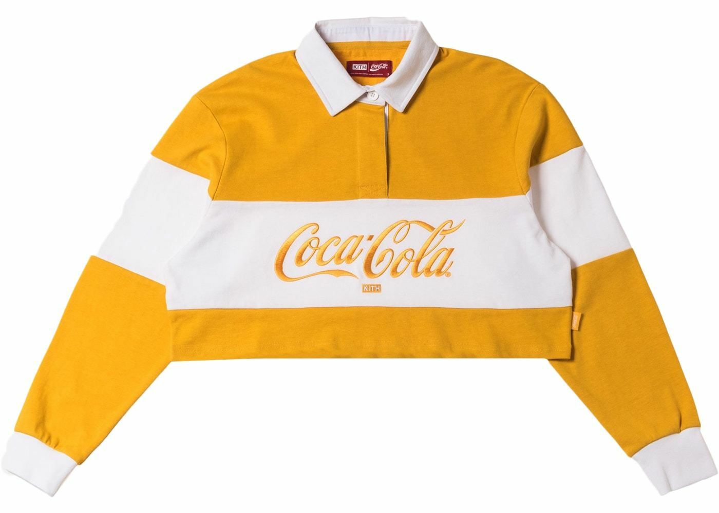 Kith Women x Coca-Cola Cropped L S Rugby Yellow Size L Large NEW Authentic FW18