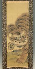 "??1967 JAPANESE HANGING SCROLL : TANI BUNCHO ""Fierce Tiger""  @f512"