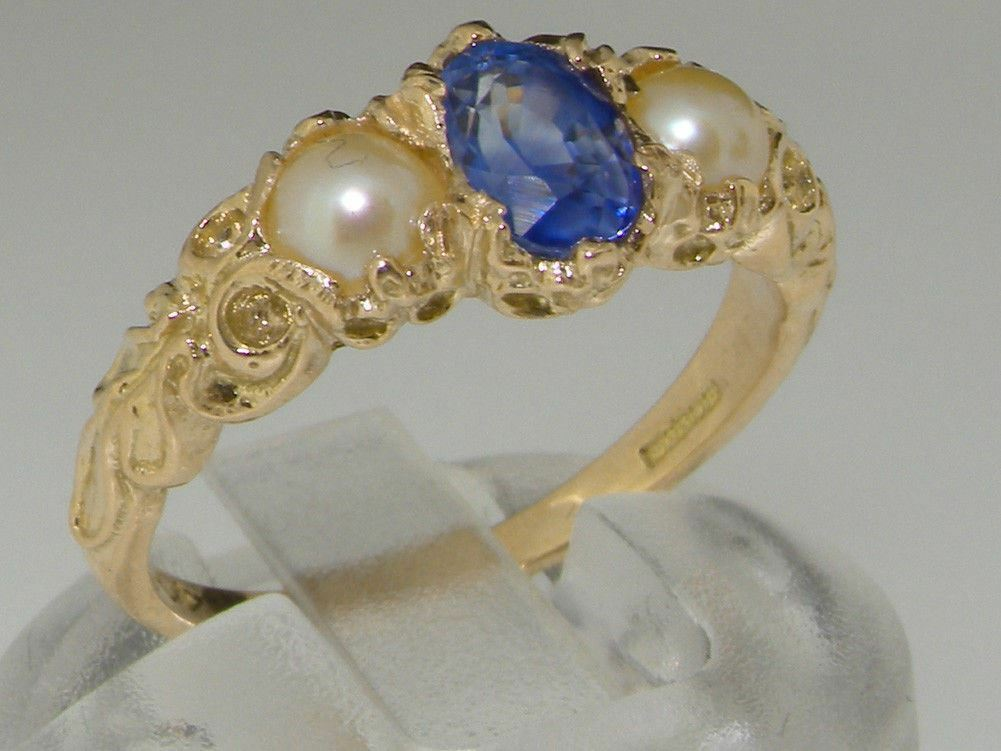 10ct Yellow gold Natural Sapphire & Pearl Womens Trilogy Ring - Sizes J to Z