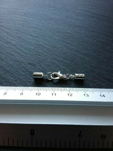 6 sets Silver Plated Crimp Ends for 3mm to 3.5mm Cord /& 12mm Lobster Clasps UK