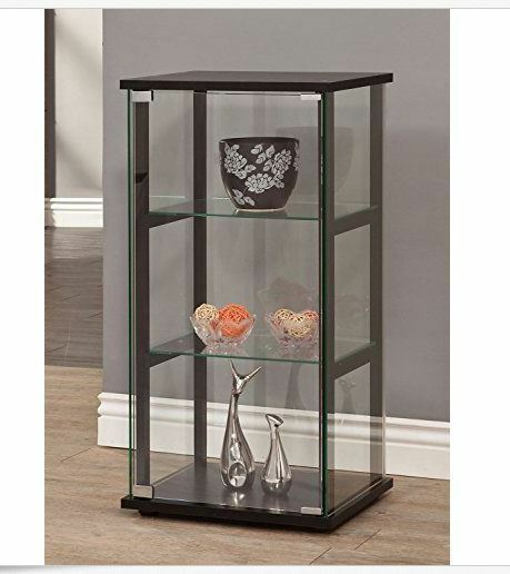 Glass Curio Cabinet Bathroom Living Room Storage Display Furniture Shelves  Wood | EBay
