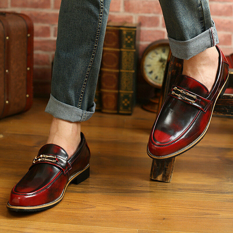 Classic Metal Decor Slip On Leather Business Work Party Men Daily Club shoes New