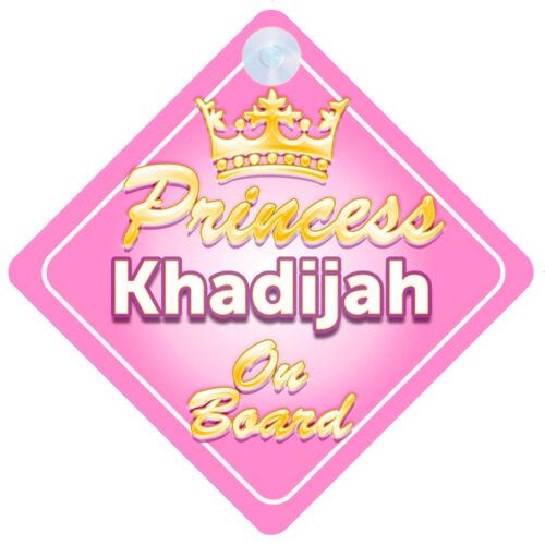 Crown Princess Khadijah On Board Personalised Baby Girl Car Sign
