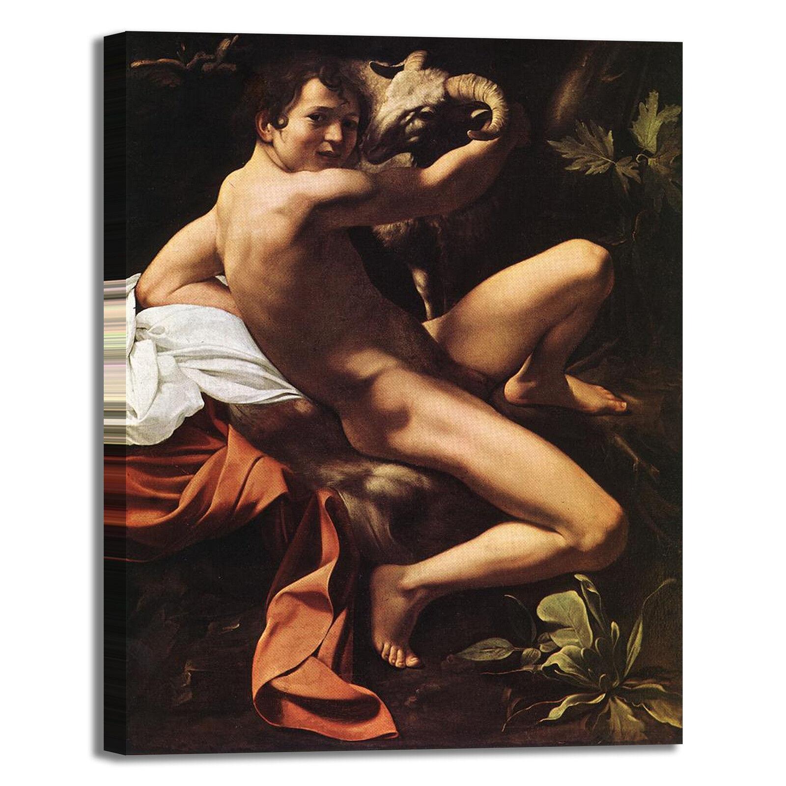 Caravaggio san Giovanni Battista 2 quadro stampa tela dipinto telaio arrossoo casa