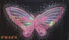"""RHINESTONE & SEQUIN PATCH PINK BUTTERFLY IRON ON TRANSFER HOT FIX   (9""""W X 6""""H)"""