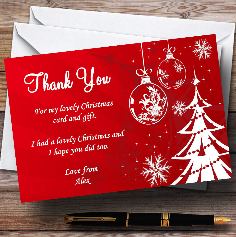 rot And Weiß Personalised Christmas Party Thank You Cards