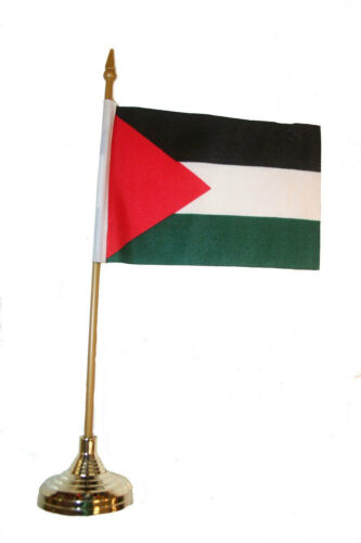 """PALESTINE COUNTRY 4/""""X 6/""""  inch stick flag with GOLD STAND on 10/"""" plastic pole"""