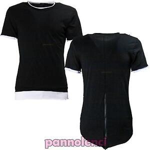 Maglietta uomo maglia maniche corte asimmetrica zip t-shirt casual nuova 2113