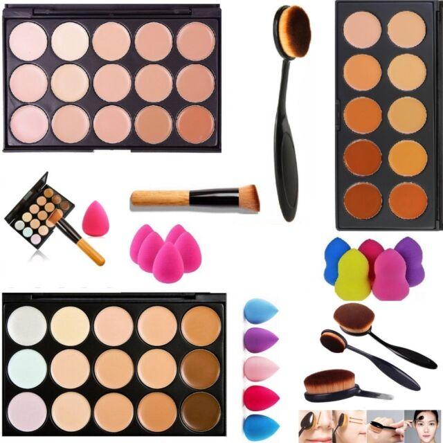 15 Colors Concealer Palette Kit + Brush Sponge Face Makeup Contour Cream Beauty