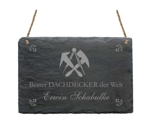 Schiefertafel « BESTER DACHDECKER » Name Schild Bau Zunft Handwerk Geschenk