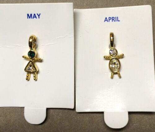 -Children-Boy or Girl Birthstone Charm Pendant Gold Plated Resin Set of 3 pcs