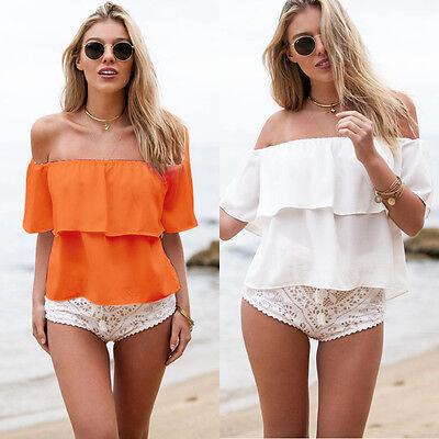 Sexy Women Girls Summer White Off Shoulder Chiffon Blouse Shirt Crop Tops