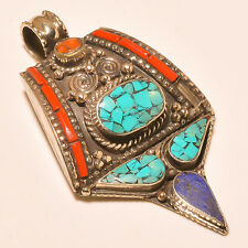 Turquoise & Red Coral With Lapis Lazuli Tibetan Silver Jewelry Pendant S-7.80 CM