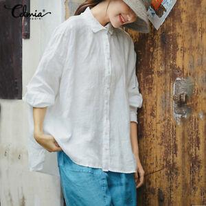 Womens-Button-Oversize-Shirt-Tunic-Long-Sleeve-Cotton-Baggy-Blouse-Top-Plus-Size