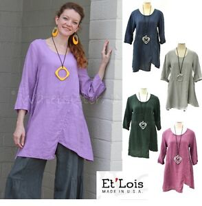 ET-039-LOIS-USA-Linen-Lagenlook-NICKY-TUNIC-A-Line-Hem-Detail-XS-S-M-L-XL-2016-FALL
