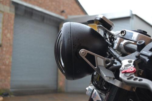 "Headlight for Yamaha Cafe Racer Scrambler Streetfighter Prison Matt Black 6 3//4/"""