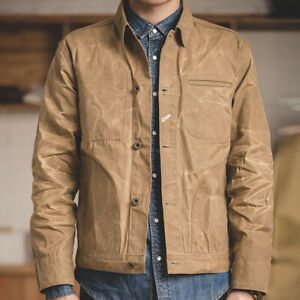 Men S Waxed Canvas Cotton Jacket Military Light Spring