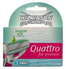 3 Wilkinson SWORD Quattro for Women sensitive Aloe Rasierklingen