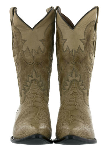 Mens Exotic Crocodile Sea Turtle Design Beige Sand Western Leather Cowboy Boots
