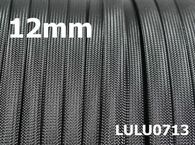 12mm Expandable Braided DENSE PET Sleeving / Cable BLACK