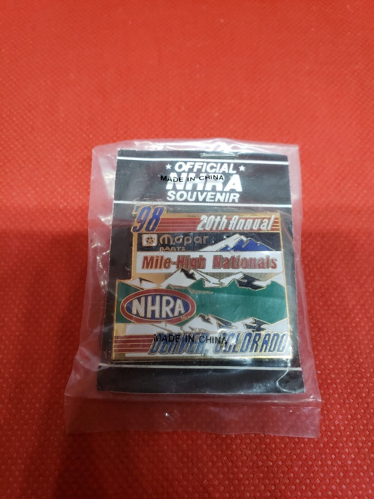 NHRA Collectible Hat Pin 98 20th Annual Mile High Nationals Denver CO BIN Z2