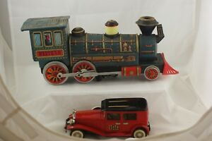 TIN-TOYS-WESTERN-STEAM-ENGINE-amp-RED-CRAGSTAN-TOURING-LIMO-N-1929