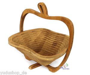 MANZANA-forma-Frutero-Platillo-Cesta-Plegable-Bambu-Platillo
