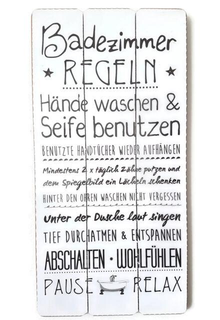 Vintage Dekoschild Holzschild Badezimmerregeln 60x30cm schwarz-weiß Wandschild