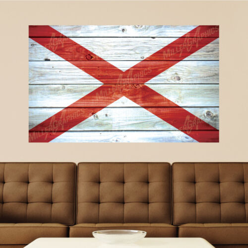 Alabama Flag Distressed Wood Vinyl Wall Decal Sticker Graphic Art 4 Sizes