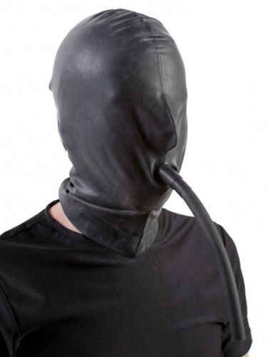 Pipe Made in UK 109c Latex Mask Rubber Hood with Mouth Tube BLACK