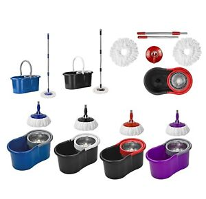Easy-Floor-Mop-Microfiber-Spinning-Magic-Spin-Mop-W-Bucket-2-Heads-Rotating-360