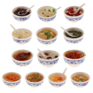 1//12 Dollhouse Miniature Kitchen Decorative Food Dumplings Soup in Bowl