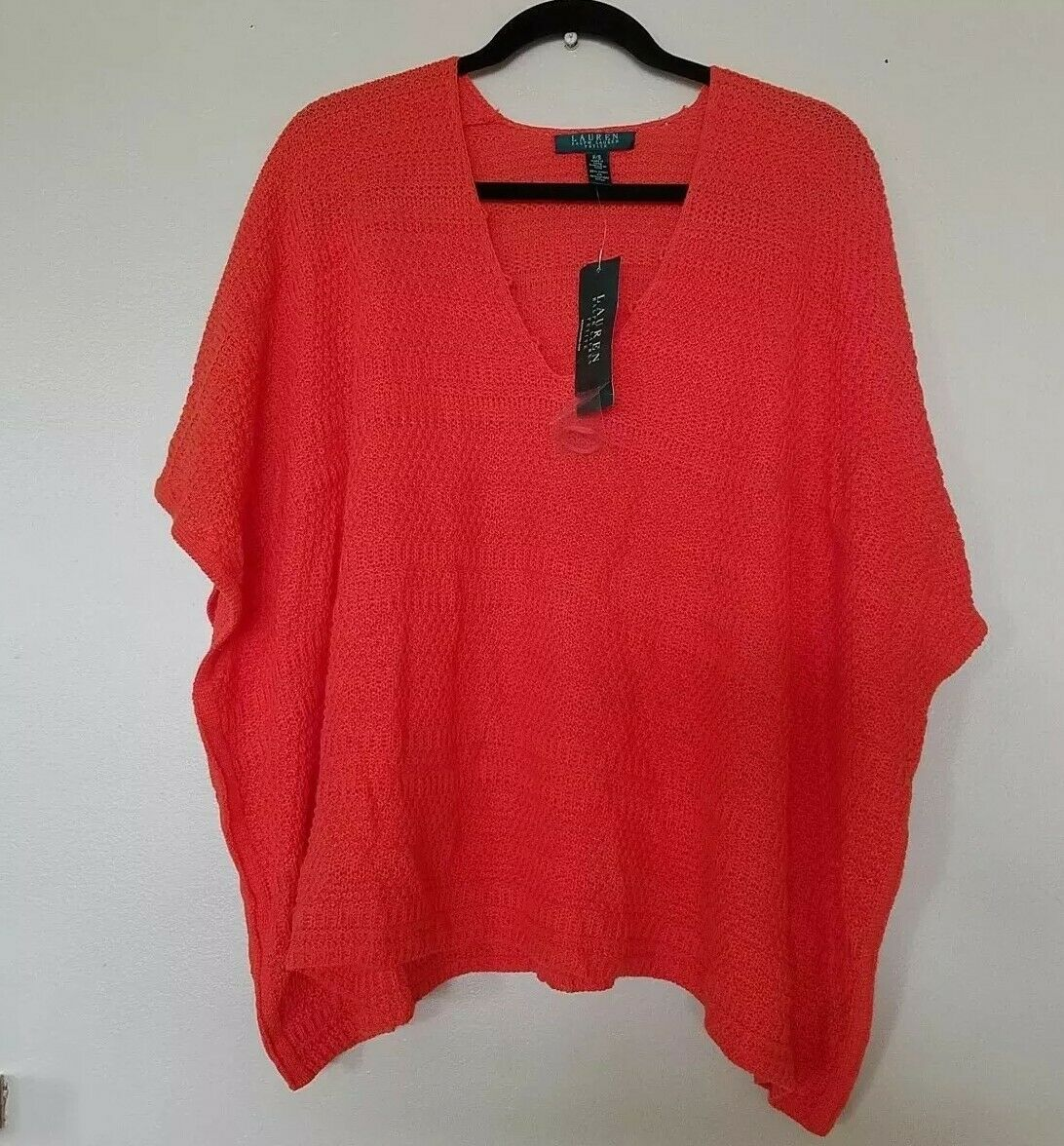NWT RALPH LAUREN Womens LINEN COTTON Kaftan Sweater Top Large to XLarge  135