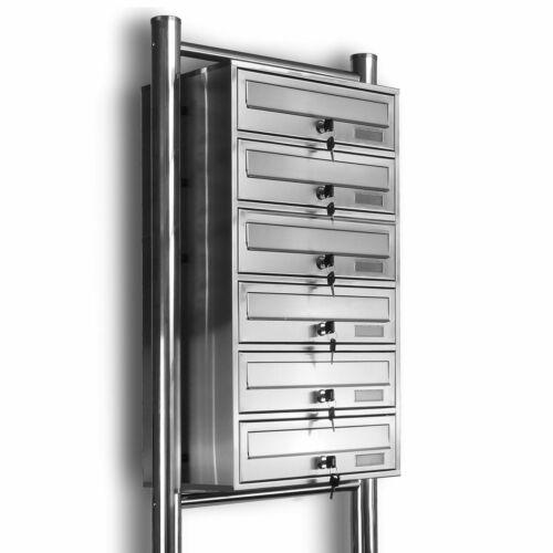 Kelvin® 6er Edelstahl Standbriefkasten /& Regendach 6 Fach Briefkasten Anlage