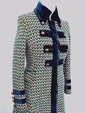 KAREN MILLEN Tweed Wool Long Coat Womens UK 12 US 8 EU 40 Green Tone Button Down