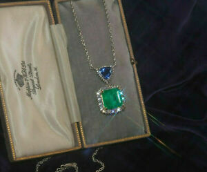 18K-White-Gold-Over-12-78-Cts-Doublet-Emerald-Tanzanite-Necklace-Huge-Pendant