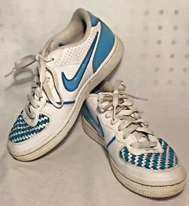 e311dec128058 NIKE Women s Air Zoom White Blue Check Retro Athletic Shoes Size 6.5 ...