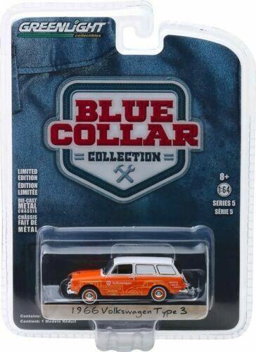 1966 vw tipo 3 Variant-Service sales parts *** GreenLight blue collar 1:64 nuevo