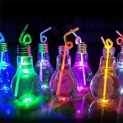 Fashion Plastic Light Bulb Shaped Bottle Drink Cup Water Bottle Party Decor +LED