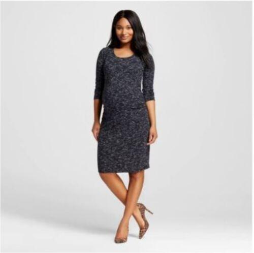 Liz Lange Maternity 3//4 Sleeve Tee Dress Black Spacedye Medium